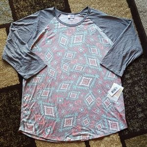 LuLaRoe Randy Womens Pastel Diamond Raglan Top 2XL